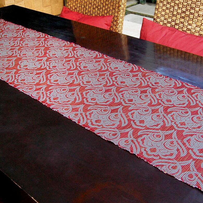 ウォーターヒヤシンスで出来た可愛い模様のテーブルランナー[レッド×グレー][10828]【テーブルセンター テーブルデコレーション テーブル布 中央 タペストリー クロス ファブリック バリ 雑貨 アジアン雑貨 新生活】