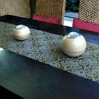 ウォーターヒヤシンスで出来た可愛い模様のテーブルランナー[ダークオリーブ×グレー][10829]【テーブルセンター テーブルデコレーション テーブル布 中央 タペストリー クロス ファブリック バリ 雑貨 アジアン雑貨】