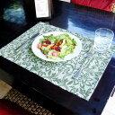 ウォーターヒヤシンスのアジアンランチョンマット[ホワイト×ターコイズ][10808]【テーブルウェア ...