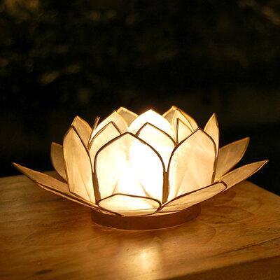 バリ島の人気アジアン雑貨パールシェルでできた蓮の花のようなキャンドルホルダー(8064)【バリ...