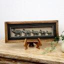動物モチーフの壁掛けフレーム アートボックス (5頭のゾウ)[6233...
