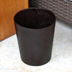 レザーのような編み目のアジアンバスケット。ゴミ箱はもちろんプランターカバーや収納バスケッ...