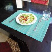 ウォーター ヒヤシンス アジアンランチョンマット ターコイズブルー テーブル プレースマット ランチョン アジアン おしゃれ キッチン エスニック