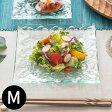 プルメリアをモチーフにした涼しげなガラスプレート[約16.5x16.5cm][62222]【おしゃれ スクエア ハワイアン雑貨 アジアン雑貨 バリ雑貨 モダン スクエアプレート ガラス皿 おしゃれ 花柄 ケーキ 四角 前菜 オシャレ お皿 かわいい 角皿 食器 バリ島 ハワイ フランジパニ】