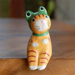 素朴な表情がなんとも言えない可愛さ♪バリ島からやって来たカエルになりたいバリ猫オブジェ(11...