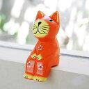 バリ島で見つけた素朴な表情がかわいい木彫りの猫の置き物。バリ島の人気アジアン雑貨お座りし...