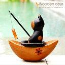バリ島で見つけた素朴な表情がかわいい木彫りの猫の置き物。バリ島の人気アジアン雑貨魚釣りが...