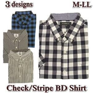 カジュアルシャツ 半袖 メンズ ボタンダウン チェック ストライプ 綿混 / ブロックチェック ギンガムチェック / L LL