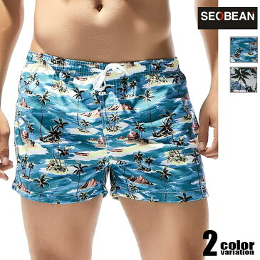 【SEOBEAN/セビン】ヤシ柄ボードショーツ 男性水着 スイムパンツ ショートパンツ型スイムウェア サーフパンツ サーフトランクス サーフショーツ 海水パンツ 海パン 水泳 海水浴 夏 ビーチウェアメンズ 水着 パンツ