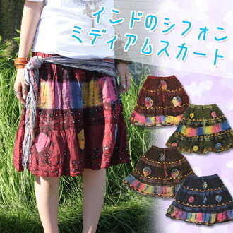 Embroidery of India and tie dye patterns are very fashionable ★ India シフォンミディアム skirt