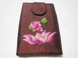 プチポワン刺繍のつまようじ入れ・ハスの花
