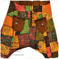 【送料無料】エスニックワイドパンツリラックスパンツヨガウェアサルエルパンツアラジンパンツ個性的男女兼用タイ文字生地のパッチワークワイドパンツです。タイパンツやヨガパンツなどでお楽しみください。