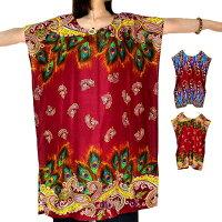 エスニックトップスゆったりポンチョです。カラフルなエスニックファッションプルオーバーポンチョ民族衣装ゆったり花柄トップスポンチョ