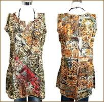 エスニックファッションアジアンワンピースショートミディアムAラインフレアエスニックアジアンファッションキャミソールアジアンノースリーブキャミワンピわんぴレディースチュニックワンピースインディアン個性的衣装プリントグリーン