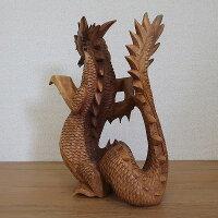 ナーガーの木彫り41cm龍の木彫りスワール無垢材右向き080811