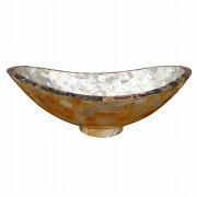 シェル舟型オーバルトレー25X14.5X9アバロンシェル&真珠貝
