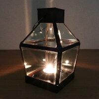 アンティークな雰囲気のガラスとブラスのランタンキャンドルホルダー