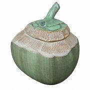 ココナッツ椰子の実の小物入れセラミック陶器製11X11