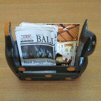 バリ猫マガジンラック木彫りの置物ブラック
