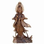 観音菩薩の木彫りDewiQuanyin木製スワール無垢材79cm