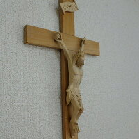 十字架壁掛けレリーフ木彫り木製無垢材クロコダイルウッド25X52