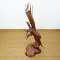 イーグルの木彫り50cm鷲の木彫り置物オブジェ左向きNo.431