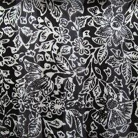 シルクスレンダンストールスカーフ42X140ブラックホワイト【メール便OK】
