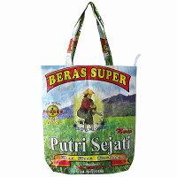 インドネシアのお米BERASSUPERの米袋をリユースして作ったトートバッグ