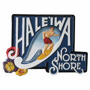 HALEIWANORTHSHORE木彫りのハワイアンサインボードMenサーフィン