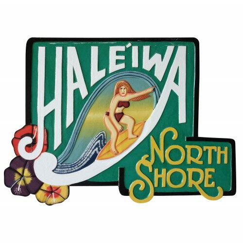 ハレイワ ノース ショア 木彫りのハワイアンサインボード HALEIWA NORTH SHORE Hawaiian sign board Woman 56X40