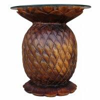パイナップル木彫りテーブル木製スワール無垢材【送料無料】【アウトレット】