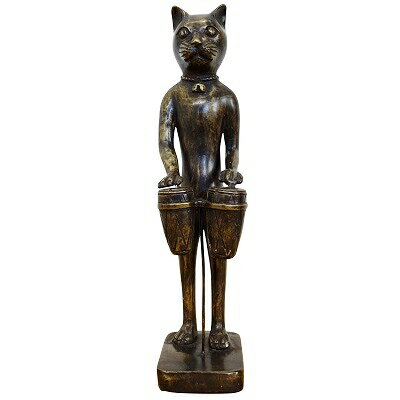 產品詳細資料,日本Yahoo代標|日本代購|日本批發-ibuy99|興趣、愛好|藝術品、古董、民間工藝品|古董/古董|猫のオブジェ パーカッション 35cm ブロンズ製  アンティーク調