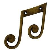 音符フック八分音符♫真鍮製壁掛け吊り下げフックアンティーク調JBL-1549【メール便OK】