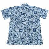 バティックシャツ コットン半袖シャツ No.139 ホワイト&ブルー 【メール便OK】
