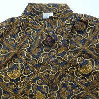 バティックシャツ長袖シャツコットンブラック&ゴールドNo.358DUAANNGGRANI【メール便OK】