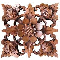 花の木彫りの壁掛けウッドレリーフ18.5X19マホガニ材タイプD