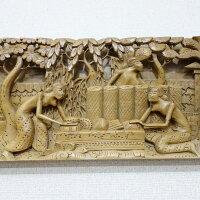 トラディショナルバリ木彫りレリーフ97.5X3X19