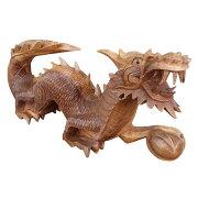 ドラゴンの木彫り龍の木彫りスワール無垢材右向き080821