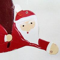 空飛ぶサンタの木彫りクリスマスデコレーション