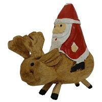 トナカイサンタの木彫り10cmクリスマスデコレーション