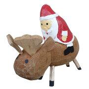 トナカイ乗りサンタの木彫りLサイズ17cmクリスマスデコレーション