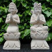 バリニーズカップルの石像オムスワスティアストゥ人形男女2体セットパラスストーン60cmOmswastyastu
