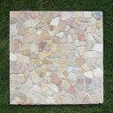石を埋め込んだステップストーン レッド モザイクの踏み石 スクエア 40cmX40cm