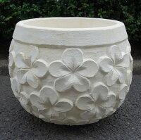 プルメリアポットリゾートな植木鉢・手水鉢コンクリート製