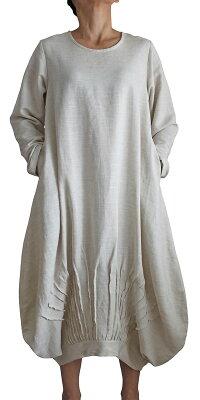 リネンレーヨンのアラジン風ドレス長袖