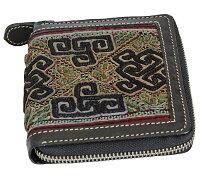 黒モン古布使いのラウンドジップレザー財布