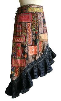 モンの古布パッチワークデザイン燕尾スカート