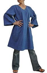ジョムトン手織り綿のシンプルV襟チュニック(インディゴ)