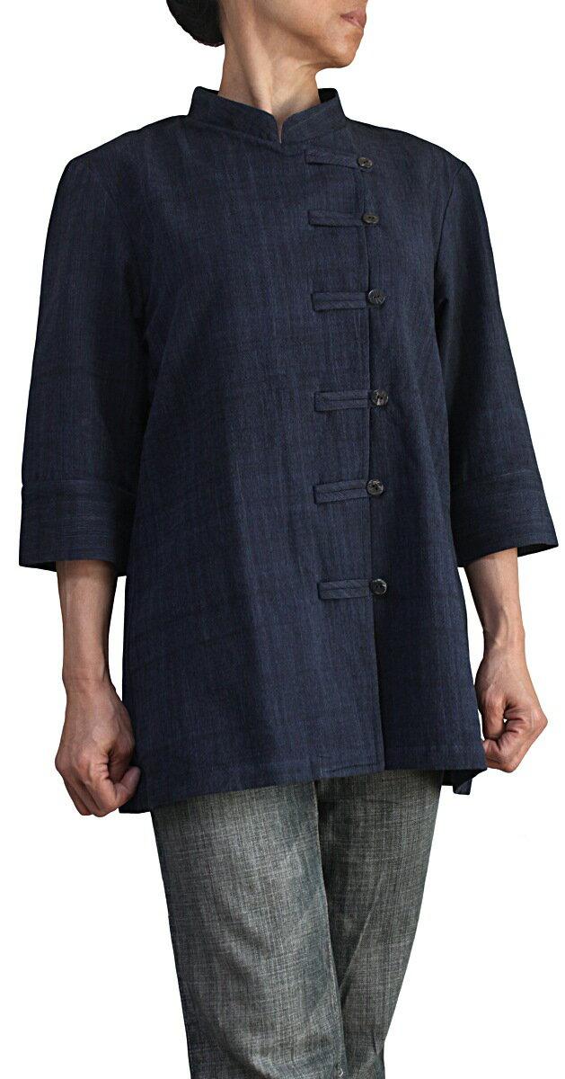 ジョムトン手織綿チャイナカラーブラウス七分袖(インディゴ紺)