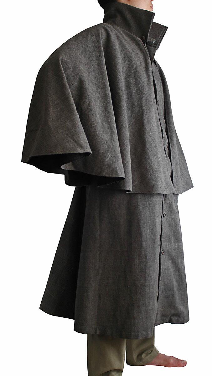 ジョムトン手織り綿のハイネックインバネスコート(焦げ茶系グレー)